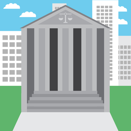 Courthouse in the city. Courtroom and court, law and courthouse steps, legal and justice, court of law. Vector abstract flat design illustration