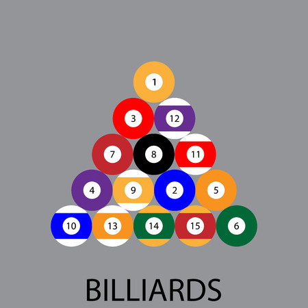 game of pool: Billiards sport icon. Pool and pool table, billiard balls, billiard table, snooker and biliard. Sport game, pool and ball, billiard and table, leisure hobby. Vector abstract flat design illustration Illustration