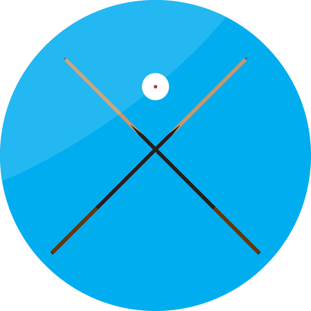 snooker cue: Icon billiard cue crossed and white ball. Billiard and pool, ball sphere, play sport game, competition snooker, cue and hobby.  Vector abstract flat design illustration