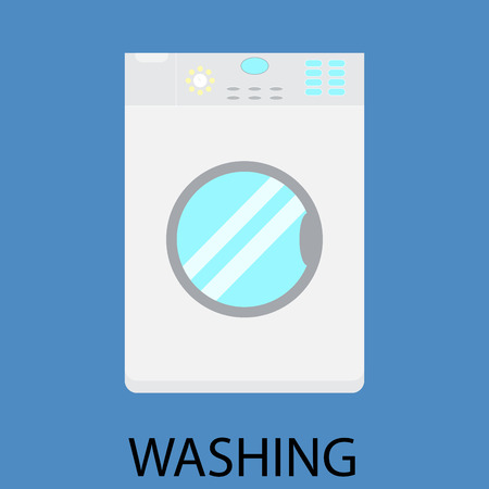 laundry machine: Washing machine housework. Laundry and washing, washing machine isolated, domestic housework, clean equipment, laundry machine, wash appliance. Vector abstract flat design illustration