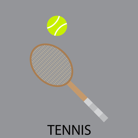 outdoor fitness: Tennis sport icon. Tennis court, tennis ball, sports tennis racket. Sport tennis, racket and ball, fitness game, outdoor competition, leisure play. Vector abstract flat design illustration