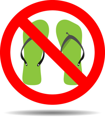 Ban flip flops. Shoe sandal ban, slipper or flip-flop, safety rubber, advise careful, walk prohibit. Vector abstract flat design illustration