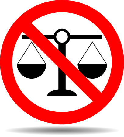 litigation: Sign justice ban. Justice law, sign no legal, no tribunal scale, no litigation compare, lawlessness and corruption. Vector abstract flat design illustration
