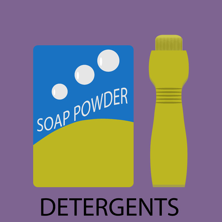 washing powder: Detergents icon flat design. Detergent powder,  detergent box,  soap and laundry detergent, washing powder, detergent bottle,  wash clean, bottle soap. Vector abstract flat design illustration