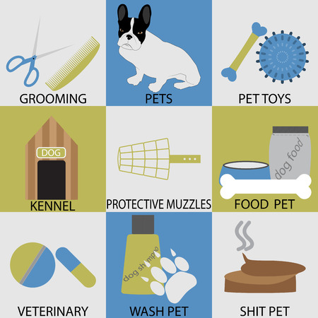 scissors comb: Icon set accessories pets. Grooming veterinary. Protective muzzles, shit pet, washing pet, pedigree dog, kennel and scissors, comb and bone, animal dog icon. Vector abstract flat design illustration