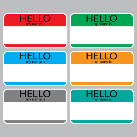 hello my name is: Hello my name is sticker sign badge set color. Name tag, name card, baby names, name plate, list of names, my name is. Vector abstract flat design illustration Illustration