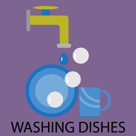 washing the dishes: Washing dishes design flat. Dish and dishwasher,  washing up, washing and dirty dishes, doing dishes, dish clean, wash kitchen, household domestic. Vector abstract flat design illustration Illustration