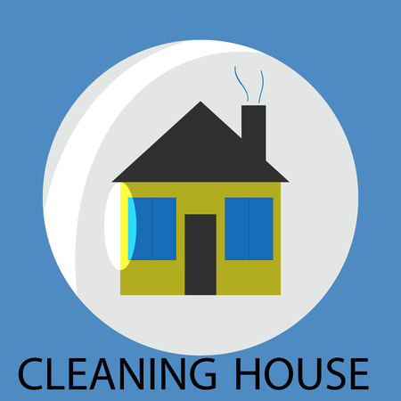 clean home: Cleaning house icon. Cleaning and cleaning service, clean house, house cleaning service, domestic hygiene, cleaning bubble, housework or household, clean work. Vector abstract flat design illustration