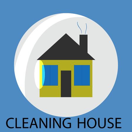 servicio domestico: Limpieza icono de la casa. Limpieza y servicio de limpieza, limpiar la casa, casa de servicio de limpieza, higiene doméstica, la burbuja de limpieza, tareas domésticas o del hogar, trabajo limpia. Resumen de vectores de ilustración diseño plano