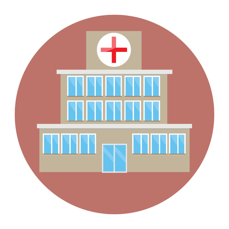 hospitalization: Hospital building icon flat. Hospital and medical icons, hospital building icon, hospital sign, hospital building, architecture medical construction, medicine care, first aid. Vector illustration