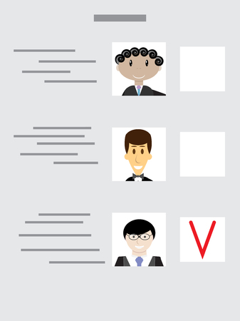 polling: Sample ballot for voting with the choice of candidates. Vote decision, paper voting, choice ballot, balloting election, questionnaire polling. Vector abstract flat design illustration