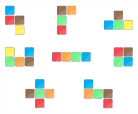 abstract building: Tetris element set color design. Puzzle tetris game, blocks  computer game, video game element, leisure game, color shape block, tetris play, cube building. Vector abstract flat design illustration