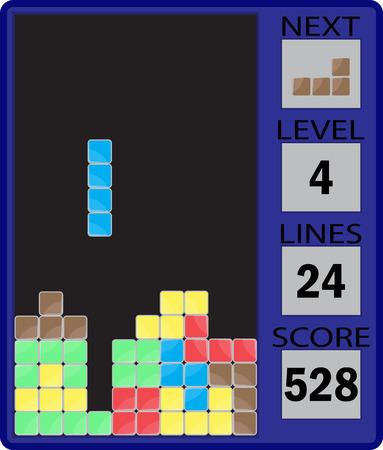 game block: Tetris device interface. Tetris gaming device, interface game, block play, puzzle square, building gui, ui meccano. Vector abstract flat design illustration Illustration