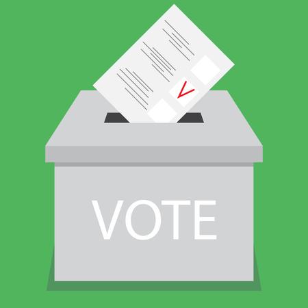 urne design vote piatta. Vota e scheda elettorale, l'elezione e la scatola di voto, Cabina elettorale, urna e cassetta dei suggerimenti, scheda di voto, scelta elettorale, il governo di voto. Vector abstract design illustrazione piatta