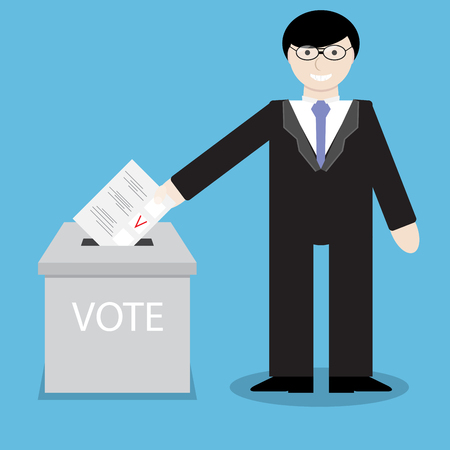 polling: Man businessman votes, throwing into box bulletin. Political referendum, voting and government, ballot paper, polling bulletin, insert document. Vector abstract flat design illustration Illustration
