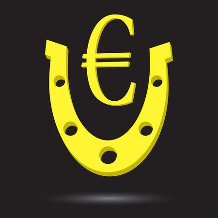 herradura: herradura de oro con el s�mbolo del euro de oro.