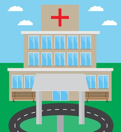 carport: Hospital building design flat.
