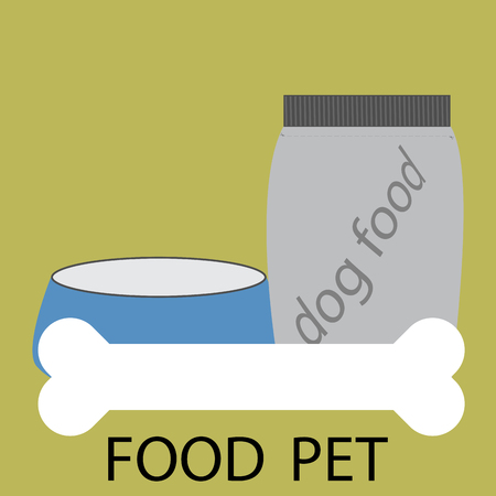 animal feed: Feed pet icon design. Animal feed, eating feet, food for dog or cat, bone and bowl. abstract flat design illustration Illustration