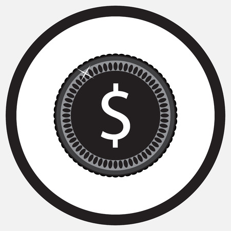 pound coin: Coin dollar black white monochrome icon. Money and coin icon,  gold coins, silver coins, pound coin, money finance coin, business currency, investment icon. abstract flat design illustration