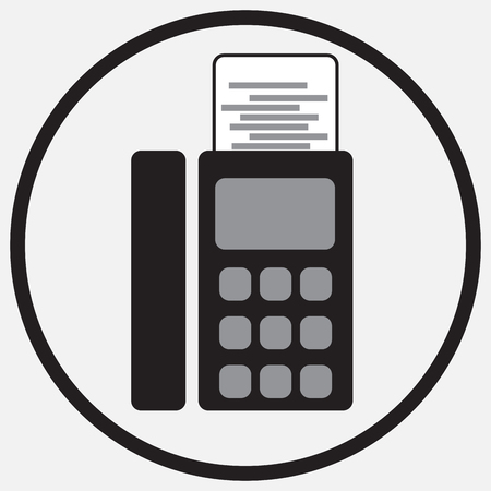 fax: Fax device icon monochrome black white. Icon fax, sign fax phone, fax communication, fax machine, fax telephone office.  abstract flat design illustration Illustration