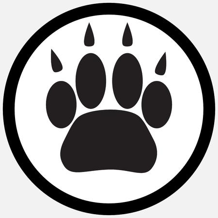 animal track: Monochrome icon foot print animal. Silhouette cat paw, animal pet print foot, track trace footprint puppy. abstract flat design illustration Illustration