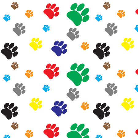 cat walk: Pattern color dog animal foot print. Print paw and footprint, pet wildlife, cat walk trace. Vector flat design illustration
