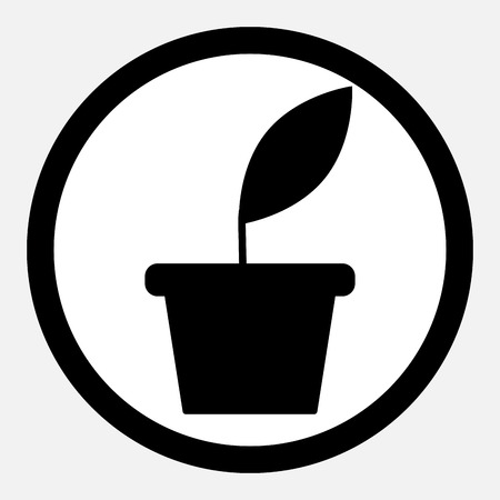 plant growth: Business growth. Plant grow. Icon flat monochrome. Business green plant growth, growing business. Vector flat design illustration