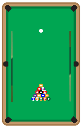 snooker cue: Pool table with balls and cue. Pool billiards and pool balls,  billiard table and snooker table, game room snooker, sport game pool, hobby and leisure play. Vector flat design illustration