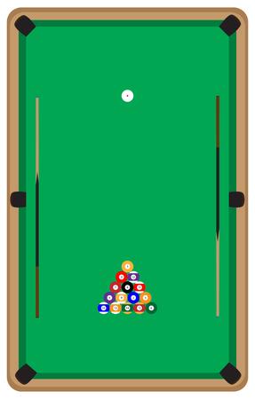 Pool tafel met ballen en keu. Pool biljart en pool ballen, biljart en snooker, speelkamer snooker, sport spel pool, hobby en vrije tijd te spelen. Vector platte ontwerp illustratie Vector Illustratie