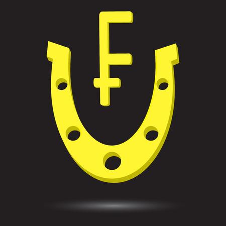 talismán: herradura de oro con el símbolo de oro suizo Frank. Frank talismán, el éxito del icono de metal y oro, fortuna. Vector de diseño plano de la ilustración