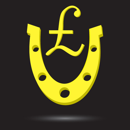 talismán: herradura de oro con el símbolo de la libra esterlina de oro libra. herradura de oro afortunadas y la suerte de metal, oro fortuna y el éxito financiero talismán. Vector de diseño plano de la ilustración