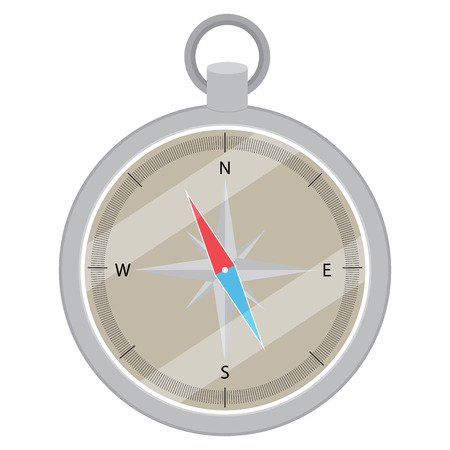 orientation: Device compass flat design. Compass icon,  navigation direction and compass map, compass vector and direction orientation, east and south, north and west. Vector flat design illustration Illustration