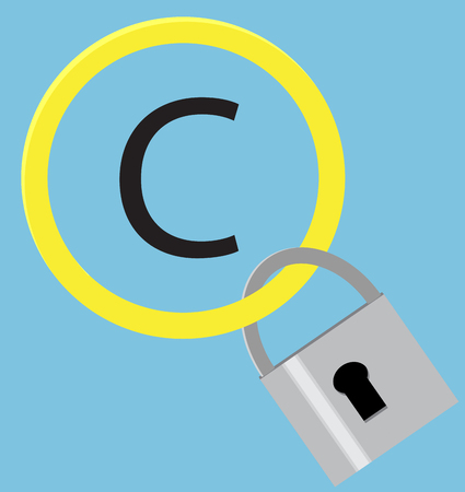 patent: Protection sign copyright with hang steel padlock. Intellectual property and trademark, copyright symbol and patent,  copyright law and piracy, protection padlock. Vector flat design illustration Illustration