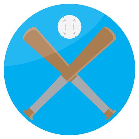 sphere base: Icon baseball design flat. Baseball bat and sport baseball icon, game equipment softball, american league play. Vector flat design illustration