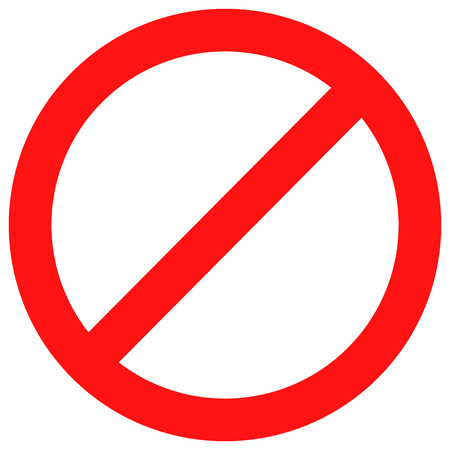 exclusion: Ban sign red. Stop sign and badge prohibition, no label and warning forbidden, caution not and attention, prohibited alert and banned danger, exclusion rule symbol. Vector flat design illustration Illustration