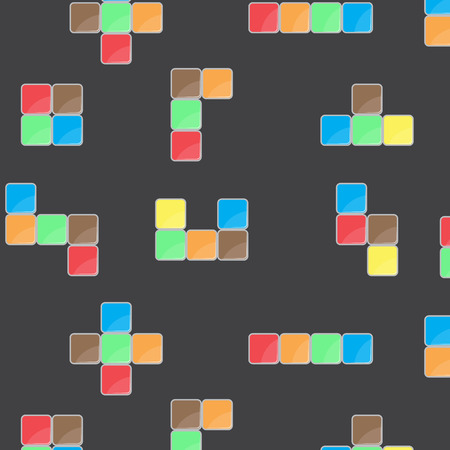 game block: Pattern color block game. Block pattern meccano brick and cube seamless shape repetition for play with geometric square building. Vector flat design illustration Illustration