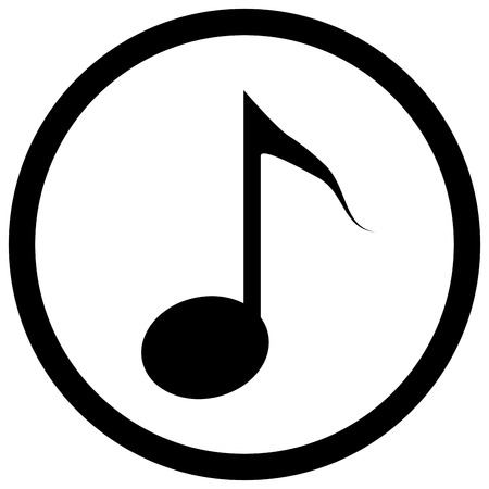 tune: Note icon black. Music notes, and musical icon or symbol tune, outline tone. Vector flat design illustration