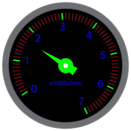 indicator panel: Tachometer dashboard device. Tache and speed, velocity and  dashboard, tachograph and race, indicator meter device panel. Vector flat design illustration Illustration