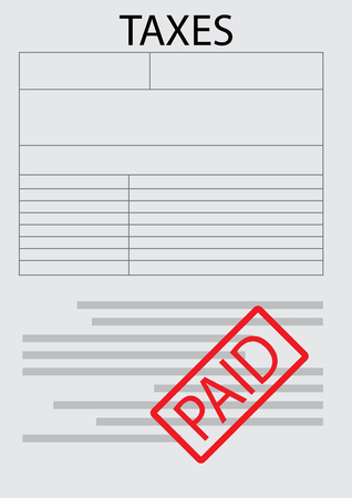 taxation: Vector tax form paper sheet. Taxation and accounting, tax papers and tax preparation, paper document finance, money accounting data. Vector flat design illustration