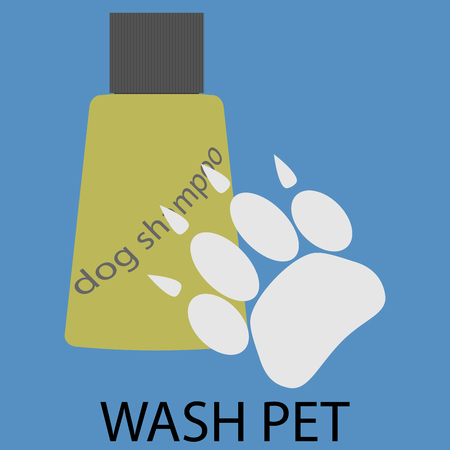 bathtime: Wash pet design flat icon. Pet wash with soap and shampoo, doggy cleanliness and grooming bathtime. Vector flat design illustration