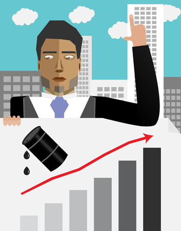 succes: Businessman hold chart with up oil price. Barrel oil up, price up and finance oil up, graph oil up, growth price oil. Vector flat design illustration