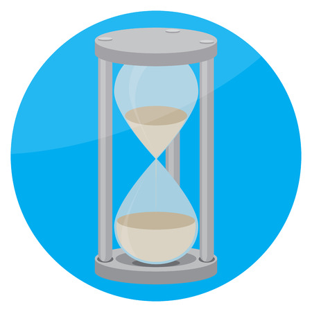 sand watch: Hourglass icon flat. Time and clock, hourglass icon and hourglass isolated round, hourglass sand and hourglass timer, countdown hourglass and watch hourglass. Vector flat design illustration