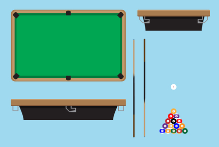 pocket billiards: Pool table top side. Billiard table and snooker table, game room snooker, hobby game pool and leisure snooker competition. Vector flat design illustration