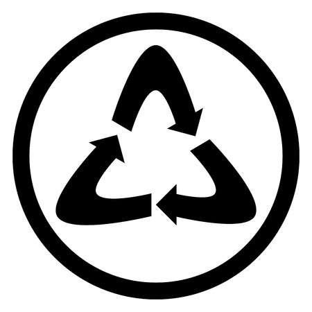 recycle logo: Recycling icon black. Recycle logo and recycle icon, recycle symbol and environment, eco nature icon. Vector flat design illustration Illustration
