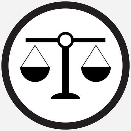 Scale icon black white. Weight scale and balance, scales of justice and balance scale, equality and freedom, measurement equal. Vector flat design illustration