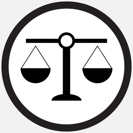 Scale icoon zwart wit. Schaal van het gewicht en balans, schalen van justitie en de weegschaal, gelijkheid en vrijheid, de meting gelijk. Vector platte ontwerp illustratie Stock Illustratie