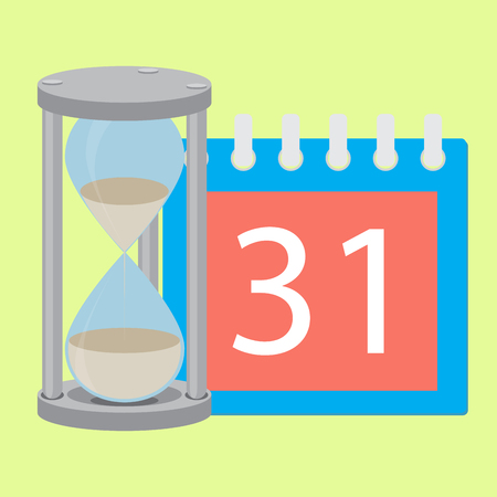Time planning deadline hourglass and calendar. Time is money and timeline, management and time, calendar and calendar deadline, time hourglass and time running out. Vector flat design illustration