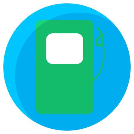 fuel pump: Fuel station green icon. Ecology station, icon fuel pump, energy gasoline, petrol service. Vector flat design illustration