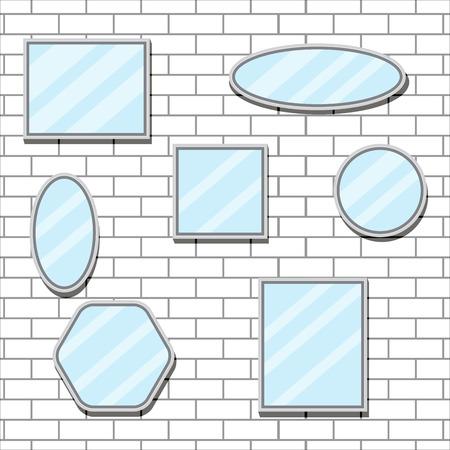 mirror frame: Mirror set design form on brick wall. Mirror reflection and mirror frame, bathroom mirror and wall mirror, oval furniture design fashion. Vector flat design illustration Illustration