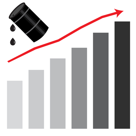 energy market: Rising oil price graph chart. Fuel price market and industry gasoline, oil energy barrel and money growth, petroleum rise.  Vector flat design illustration Illustration